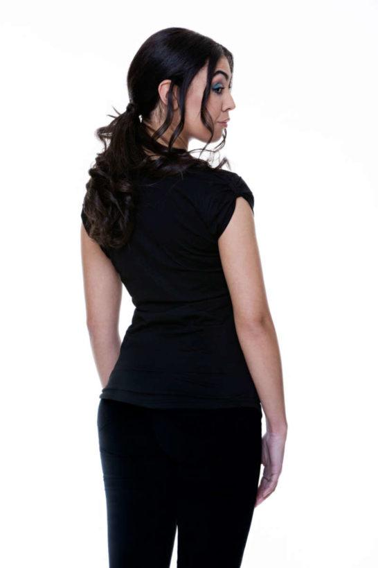 T-Shirt woman Cotton Jersey long black rear