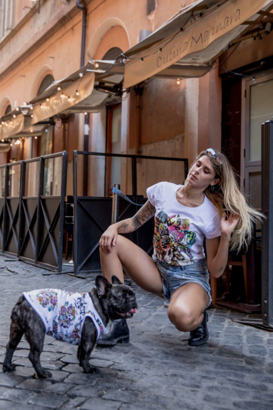 Urban Style T-Shirt Streetwear Made in Italy - Graffiti Lotus Dog 4