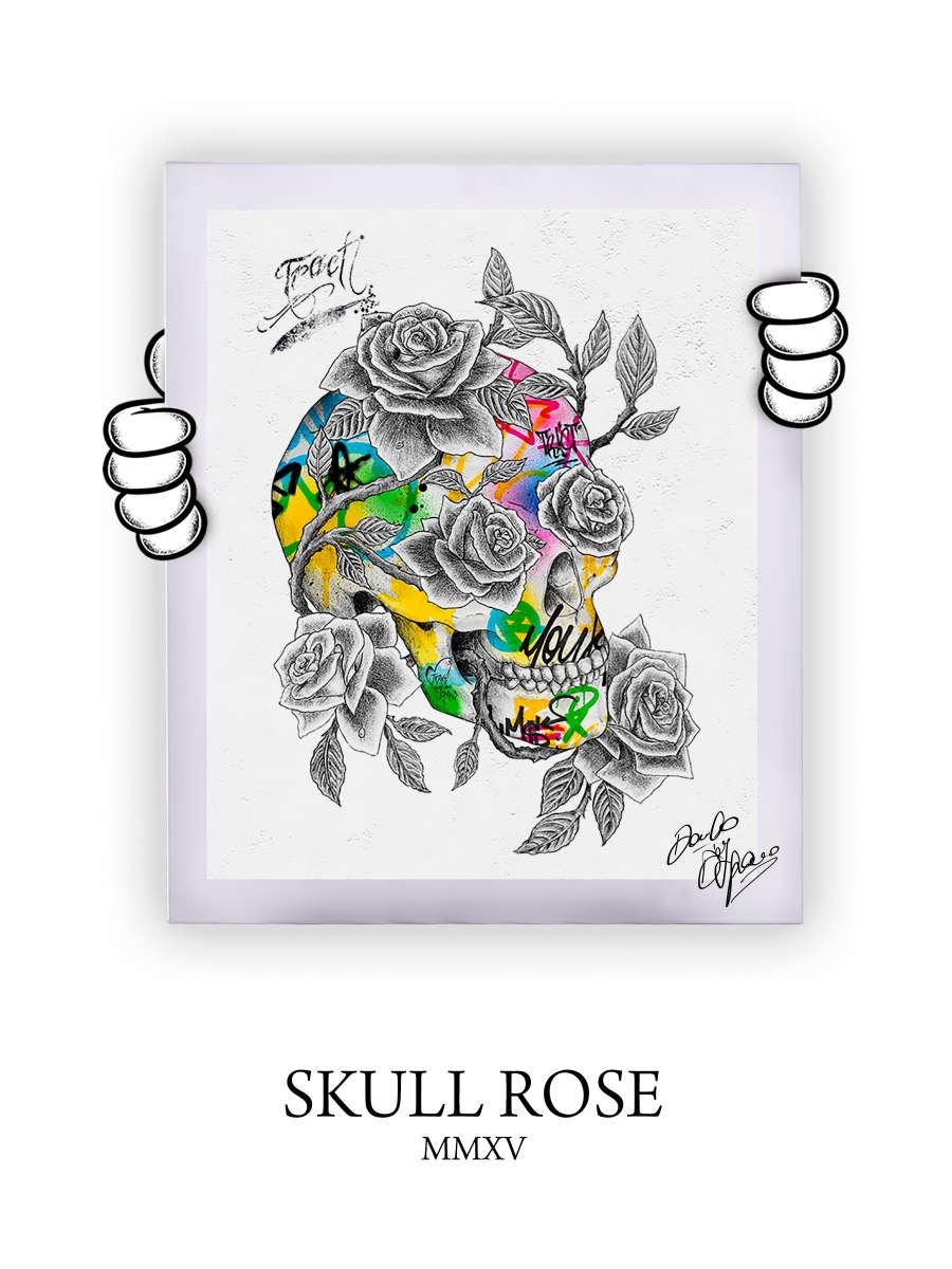 Street Art Skull Rose 2015