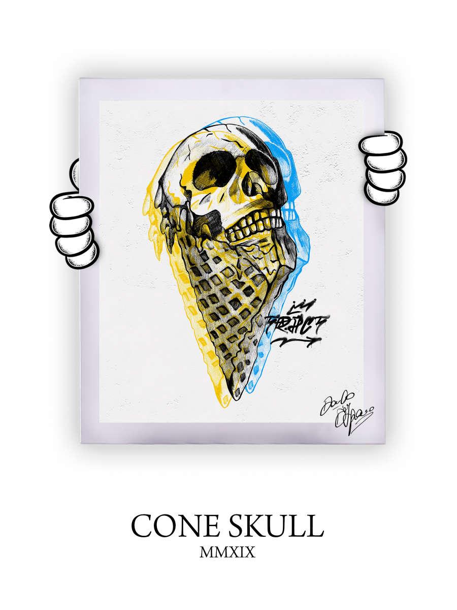 Street Art Cone Skull 2019
